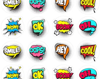 Set-colorful-comics-speech-bubbles, Wall Decal , comics Party , wallpaper  ,water-bottle