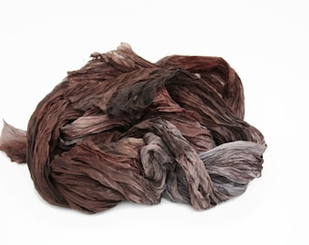 brown silk scarf - Hot Chocolate -  brown, grey silk scarf.