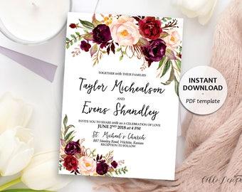 Wedding template etsy marsala floral wedding invitation boho wedding template burgundy pink printable wedding invitation card stopboris Image collections
