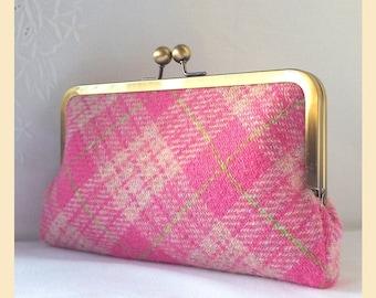 pink tartan bag, Harris Tweed clutch bag, tartan handbag, pink tweed purse, wool clutch with optional personalisation, gift for her