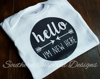 Hello I'm New Here Infant Bodysuit Creeper Baby Shower Gift for Newborn