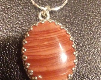 Imperial jasper and sterling silver necklace
