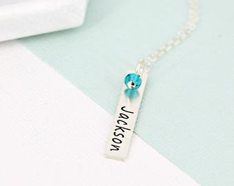 Vertical name bar necklace w birthstone crystal •  Personalized bar necklace •  Personalized necklace •  Mother name necklace •  Kids name