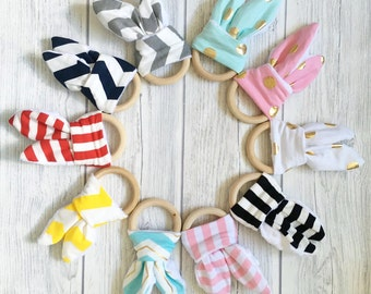 Personalized teething ring, engraving name, Organic Teething Rings Bunny Ear Teething Ring For Baby/Fabric and Wooden Teething Ring with Cri