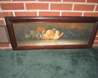 "Antique Circa 1900 Original Framed Large 34"" Pastel Fruit Painting with Unusual Peeled Orange"