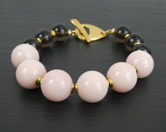 Chunky Gemstone Bracelet Pink Opal Smokey Quartz Beaded Bracelet with Gold Toggle Statement Bracelet Bridesmaids Gift for Her Handmade
