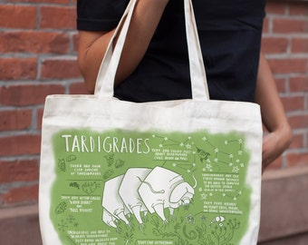 Tardigrade Water Bear Tote Bag | Shoulder Bag Recycled Canvas, Microbiology, Science, Biology, Microscopic, Back to School, Graduation