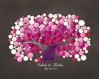 Blossom Wedding Guest Book art print - KANZAN CHERRY TREE - Guest book alternative wedding tree keep sake Guest sign