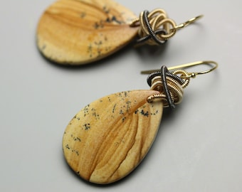 Mixed Metal Wire Coiled Knots Picture Jasper Dangle Earrings
