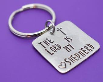 The Lord Is My Shepherd Prayer Keychain - Personalized Keychain - Cross Keychain -Prayer Keychain - Custom Keychain - Pewter