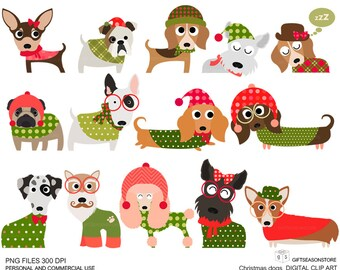 Christmas dog digital clip art part 1 for Personal and Commercial use - INSTANT DOWNLOAD