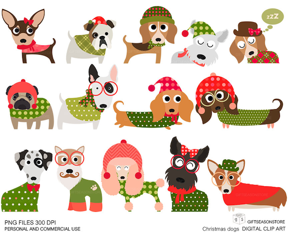 christmas dog digital clip art part 1 for personal and rh etsy com merry christmas dog clipart christmas pets clipart