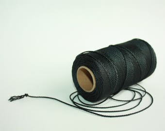 1.5 mm TWISTED BLACK Cord = 1 Spool = 110 Yards = 100 Meters of Elegant Polyester Rope - Great for Macrame, Sewing, Crocheting, Knitting