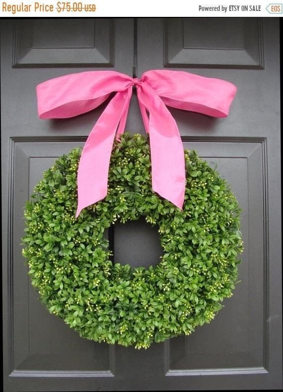 SUMMER WREATH SALE Boxwood Wreath- 16 inch Summer Wreath- Girl's Nursery Decor- Pretty in Pink- Girl Decor- Princess Decor- Princess Wreath