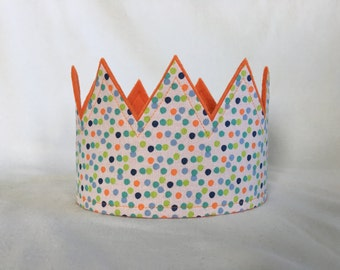 Polka Dot Crown, Fabric Crown, First Birthday Crown, 1st smash cake crown, First smash party hat, Crown with dots, Party Hats