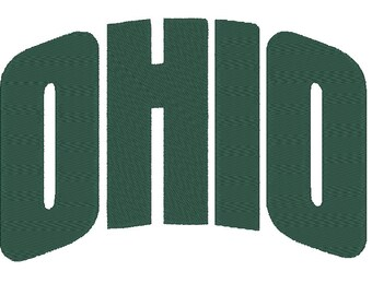 "Ohio Bobcats ""Ohio"" Embroidery Design.  3 Hoop Sizes"