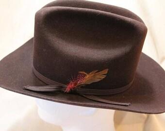 Vintage  Custom Made Bee Hats  Dynafelt Deluxe Western Dark Brown Fur Felt  Men's Cowboy Hat Size 7  56cm