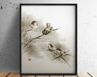 Birds Painting Original Watercolor Print Spring Wall Decor Poster Abstract Art