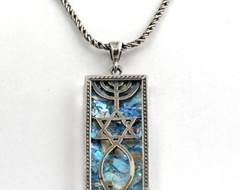 Roman Glass Necklace with Grafted-in design in Silver