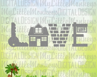 Love SVG ~ New Home SVG ~ Real Estate Agent svg~ Closing Gift ~ New Home Gift ~ Commercial Use SVG ~ Clip Art Cut File eps dxf png