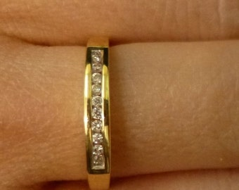 Yellow Gold Channel Set Round Diamond Wedding Band Anniversary Band 14K Size 7 by Luxinelle 299 Specials