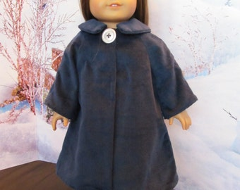 18'' Doll Navy Blue Corduroy Coat, Hand Made to Fit 18'' Dolls, Navy No-wale Corduroy , Spring Time Wear , Winterwear,Long Coat , Outerwear