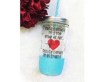 Nurse (RN) Glitter Mason Jar Tumbler // Nurse Gift // Glitter Tumbler // Glitter Glass // Glitter Dipped // Nurse // RN // Birthday Gift