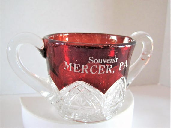 Ruby Glass Sugar Bowl, Double Handles, Souvenir Mercer, PA, Holiday decor, Red Glass
