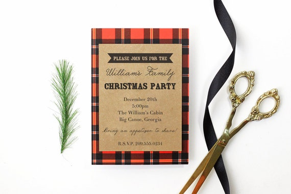 Items Similar To Christmas Party Invitation Family Reunion