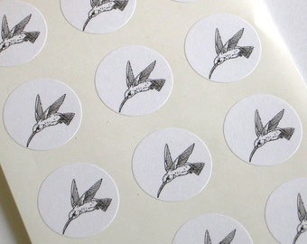 Hummingbird Stickers One Inch Round Seals