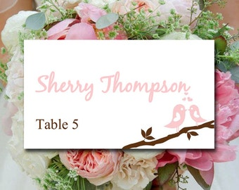 "Love Bird Wedding Place Card Template - Wedding Escort Card ""Love Bird Branch"" Pale Pink Chocolate Wedding Table Card - Wedding Name Card"