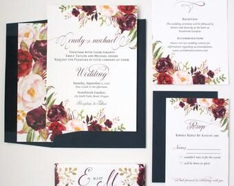 Navy Wedding Invitations - Burgundy & Navy Elegant Wedding Invitation Suite - Rustic Script Collection Sample Set