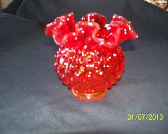 Vintage Fenton Amberina Hobnail Vase