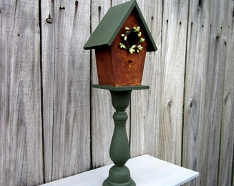 Decorative Birdhouse, Pedestal, Green, Rustic Decor, Indoor Birdhouse, Stained, Home Decor, Pip Berry Wreath, Primitive, Country Decor
