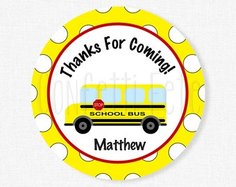 School Bus Favor Tags, Yellow Bus Tag, Wheels on the Bus Party, School Bus Party Favors, Personalized
