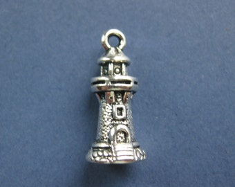 10 Lighthouse Charms - Lighthouse Pendants - Antique Silver - 20.5mm x 9mm --(No.111-10646)