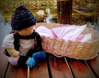 Waldorf baby doll with bassinet