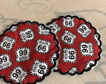 Set of 2 NEW Embroidered quilted coasters ROUTE 66