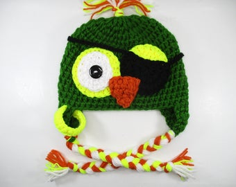 baby parrot hat, boys hats, parrot pirate, Crochet hat Parrot Pirate, halloween hat, crochet hat, crochet hats for boy, handmade crochet hat