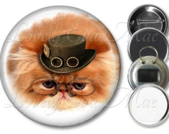 Steampunk Cat Pocket Mirror, Yellow Cat, Compact Mirror Refrigerator Magnet, Bottle Opener Key Ring, Pin Back Button, Cat Keychain, Cat Gift