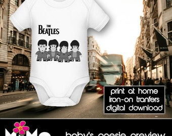 PRINTABLE - Letter size - The Beatles - Black and White - DIY T-Shirt Iron on transfer file – Jpg/Png 300dpi.