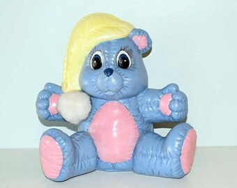 Memorial Day Sale Blue, Pink and Yellow Childs Bear Ceramic Savings Bank ©1985 on the Bottom