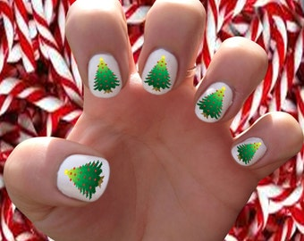 Christmas Trees  // Wreath // Santa // Christmas // St. Nick // Holidays // Winter  Nail Decals Transfer Nail Stickers //