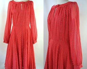 1970s/1980s Lipstick Red and White Polka Dot Dress, Circle Skirt