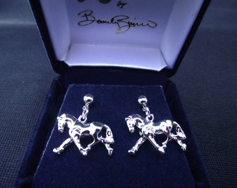 Trotting horse earrings equestrian jewelry platinum clad collection