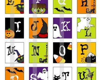 Halloween Alphabets - one 4x6 inch digital sheet of scrabble size (0.75 x 0.83 inches) images for scrabble tiles