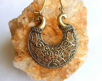 Hoop Earrings, Brass Earrings, Tribal Earrings, Brass hoop Earrings, Boho Earrings. Indian Earrings. Ethnic Earrings. Earrings. Handmade.
