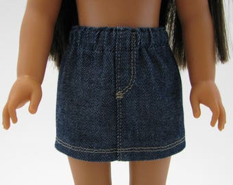 "Fits Like Wellie Wisher  - 14"" Doll Clothes - American Doll - 14 Inch Doll Clothes - Girl Denim Skirt - Doll Skirt - A Doll Boutique"