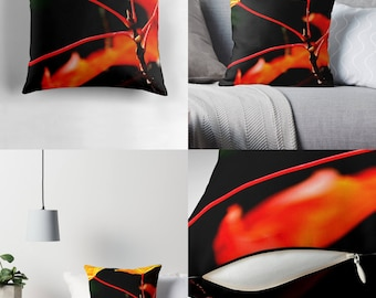 Throw Pillow - Pillow Cover — Burning Maple / Dramatic Close-up Image of Maple Leaves & Their Stems / Spun Polyester