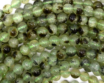 "8mm green prehnite round beads 15.5"" strand 34640"